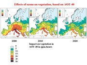 Figure 7. Present damage to forests by ozone in Europe and predictions of future developments