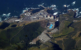Diablo Canyon <a href='/article/Nuclear_power' title='Nuclear power'>nuclear power</a> plant, San Luis Obispo County, <a href='/article/California' title='California'>California</a>. This plant was found to have produced kills of abalone and other marine organisms, when thermal discharges were inadequately analyzed or mitigated. Source: David Searls