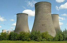 Hyperbolic cooling towers, Didcot fossil fuel power station, Oxfordshire, England. This design of cooling towers is often chosen due to enhancement of convective cooling as well as inherent structural strength of the geometry. Source: Owen Cliffe
