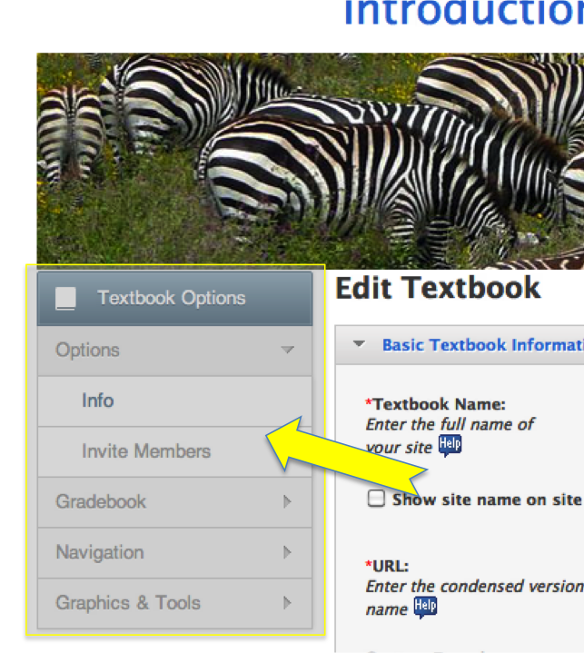 Manage Textbook options